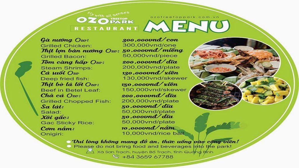 menu nhà hàng công viên ozo